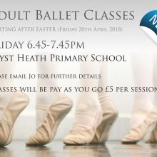 NEW ADULT BALLET-RESTARTS Friday 7th September