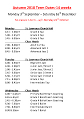 Joanna Mardon School of Dance Autumn 2018 Timetable pdf download