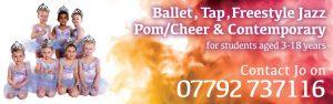 Joanna Mardon School of Dance Exeter Ballet Tap Freestyle Jazz Pom/Cheer contemporary dance classes website header
