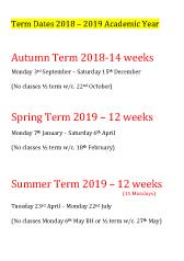 Joanna Mardon School of Dance Term Dates 2018-2019 pdf download