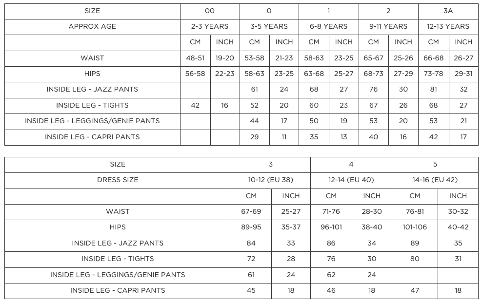 Joanna Mardon School of Dance Jazz Pants Sizing Guide