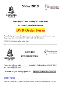 Joanna Mardon School of Dance The Enchanted Castle Show DVD order forms 2019 PDF download