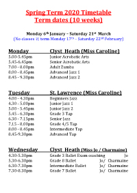 Joanna Mardon School of Dance Spring Term 2020 Timetable pdf download