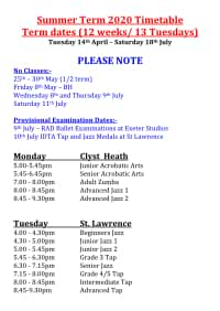 Joanna Mardon School of Dance Summer Term 2020 Timetable
