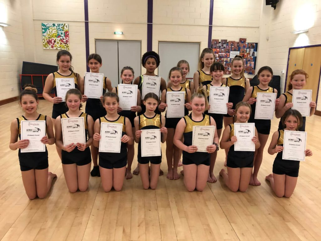 Acrobatic Arts Primary Group 2 Joanna Mardon School of Dance with certificates
