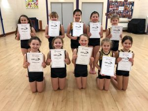 Acrobatic Arts Primary Group Joanna Mardon School of Dance with certificates