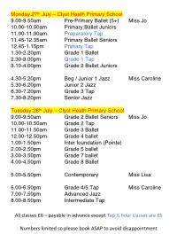 Joanna Mardon School of Dance Timetable Summer