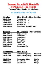 Joanna Mardon School of Dance Summer Term 2021 Timetable